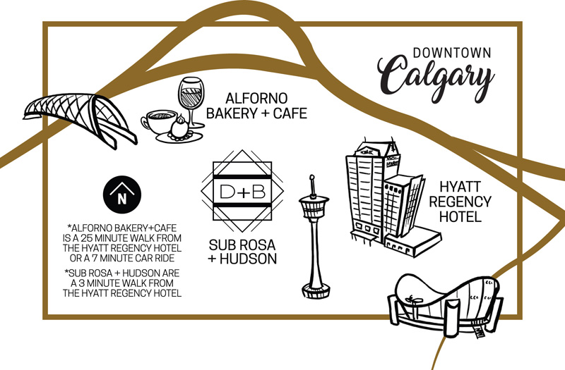 Simple map of Calgary with spot illustrations