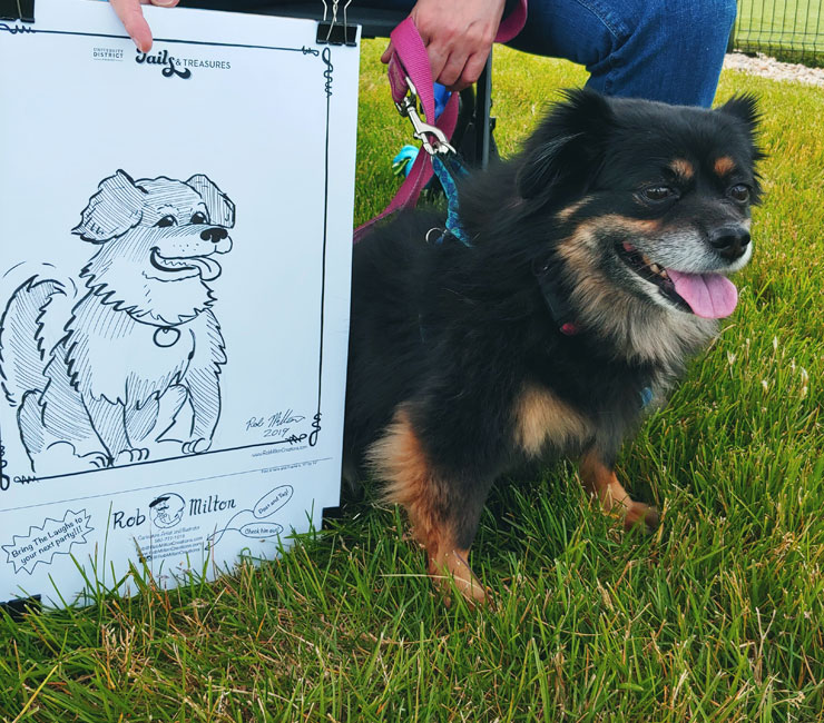 Dog with his caricature.
