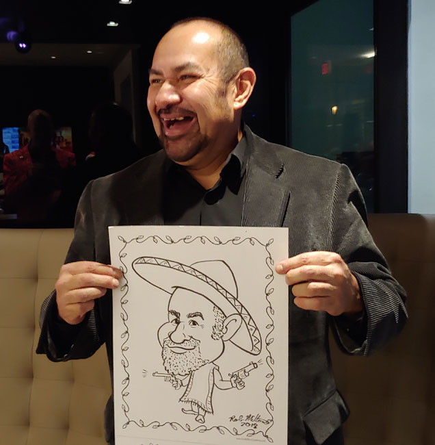 Caricature of Mexican Man at a office party