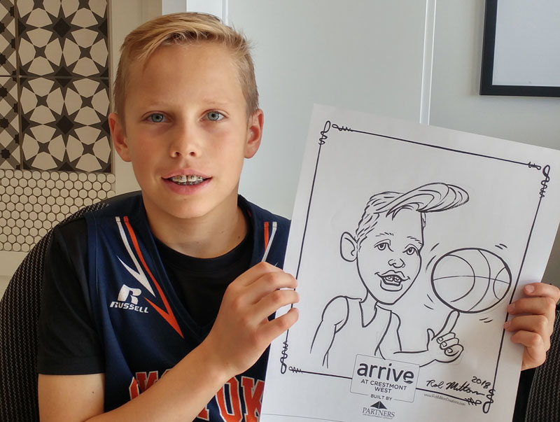 Promotional Giveaway Caricature of Boy playing Baskeketball.