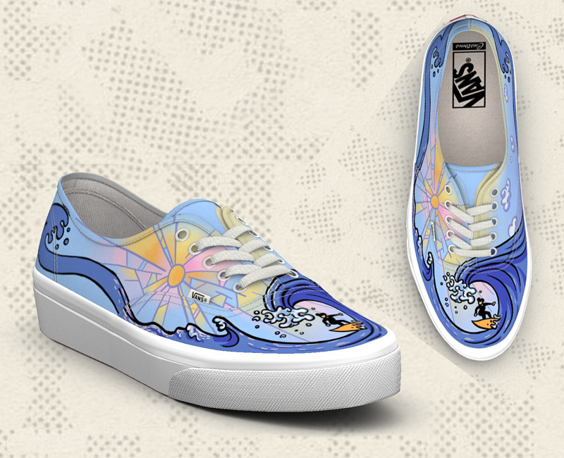Shoe design with surfer created for Vans Custom Culture Contest